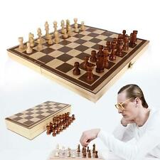 Authentic wooden folding Board & Pieces Chess set hand carved toy gift Child TL