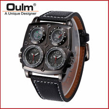 Oulm Leather Men Dual Time Military Army Compass Thermometer Quartz Wrist Watch