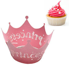 Princess Crown Paper Lace Cup Cake Wrappers for Wedding Birthday Decoration
