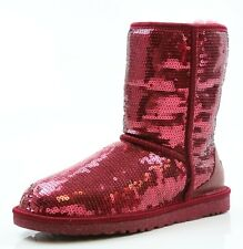 Kids UGG Australia Classic Short Sparkles Cherry Red Boot Size 6