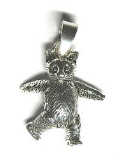 Solid Sterling Silver Moveable Teddy Bear Charm / Pendant