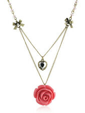 BETSEY JOHNSON 'Rose Garden Party' Flower & Heart 2-Tier Beaded Necklace
