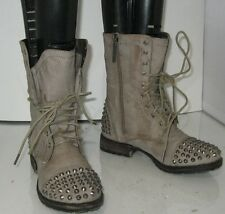"New Brown/Gray toe spikes 1"" low block heel combat ankle sexy  boots size 6.5 P"