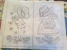Vintage HOLLY HOBBIE Style Girl Boy Picture TRI CHEM Liquid Embroidery Kit 0706