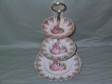 "Ashley ""PINKIE"" BONE CHINA a tre livelli hostess CAKE PLATE STAND Crinolina LADY"