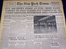 1946 FEB 13 NEW YORK TIMES - CITY SHUT DOWN ENDED AS FUEL CRISIS EASES - NT 892