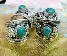 New Retro Tibet Silver Ring Green Turquoise Stone Adjustable Religion