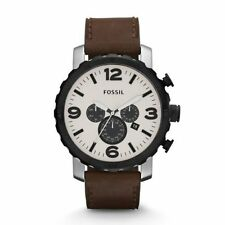 Fossil Men's JR1390 Nate Chronograph Eggshell Dial Brown Leather Watch