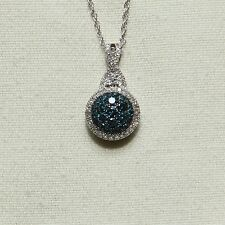 SALE! BEAUTIFUL SPARKLING .50 CTW. BLUE and WHITE DIAMOND PENDANT & CHAIN
