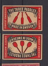 Ancienne   étiquettes     allumettes Suède  AZ4543 Les Trois pagaies