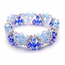Bleek2Sheek Sapphire blue and Cobalt Crystal Glass and Rhinestone Stretch bracel