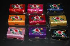 Lot Of 12pc Silk Embroider Brocade Lipstick Case Holder Box with Mirror