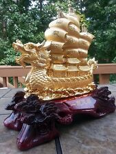 "17""5H Chinese lucky Dragon Sailing Boat ship statues"