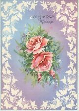 VINTAGE PINK ROSES GARDEN FLOWERS BUTTERFLY FLORAL BERRY REPOUSSE ART CARD PRINT