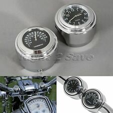 7/8'' 1'' Motorcycle Handlebar Mount Dial Clock + Thermometer Temp for Harley