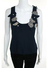 MOSCHINO CHEAP AND CHIC Navy Blue Sleeveless Scoop Neck Sweater Tank Top Sz 10