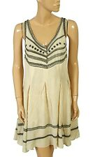 132119 New Free People Embroidered Fun Fun Fun Fit And Flare Beige Dress L 12