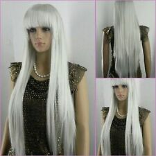New fashion gray white long straight wig  cosplay wig + Hairnet