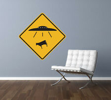 UFO Alien Cow Abduction Traffic Sign Repositionable Wall Decal  MADE IN USA