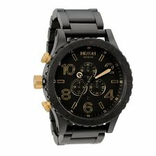New NIXON Watch Mens 51-30 CHRONO A083-1041 MATTE BLACK GOLD A0831041 NIB w/Link