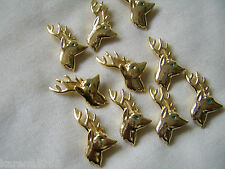 GOLD PLATED REINDEER CHARMS / BUTTONS X 10 . DEER CHARMS.