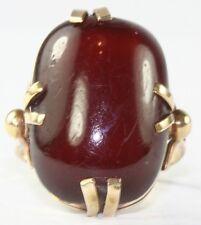 VTG 1930'S 14K GOLD TESTED CHERRY AMBER LADIES RING