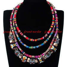Fashion Gold Chain Knit Multi-Color Rope Ethnic Statement Pendant Bib Necklace