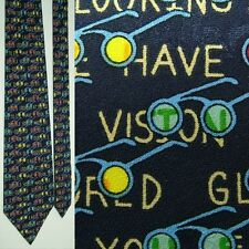 NEW TAG NICOLE MILLER BLUE 20/20 VISION HERE'S LOOKING AT YOU KID SILK NECK TIE