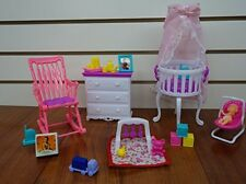 Barbie Size Dollhouse Furniture Gloria Baby Home Nursery Set, New, Free Shipping
