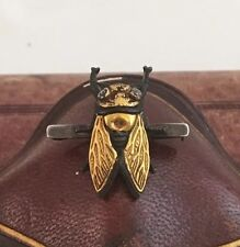 Antique Victorian Cicada Pin Gold Silver Brooch Vintage Insect Beetle Jewelry