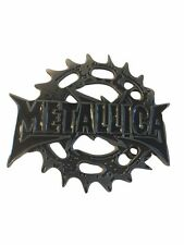 METALLICA Rock band Name Logo Spiked Circle Metal Enamel BELT BUCKLE