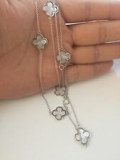 """925 Sterling Silver Mother Of Pearl Clover Four Leaf Pendant Necklace 36"""""""