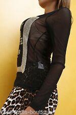 New Original Unique Super Sexy Hemd JO5 Damen Hot Black Shirt Top Blouse L/XL