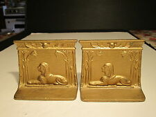 Vintage Cast Iron Art Deco Egyptian Sphinx Decorated Metal Bookends