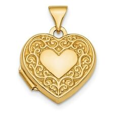 "NEW SOLID 14K YELLOW GOLD HEART SCROLL DESIGN LOCKET PENDANT  2 PHOTO .58"" LONG"