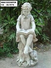 Statue fille lecture figure outdoor angel vieilli effet pierre 3FT