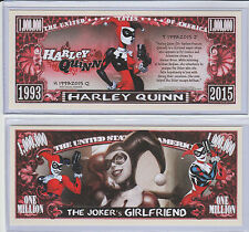Harley Quinn Million Dollar Collectible Funny Money Novelty Note with Protector!