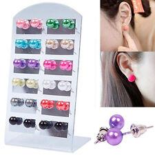 Charm Women's 12 Pair Ear Stud Faux Pearl Ball Earrings Set Eardrop Multi-color