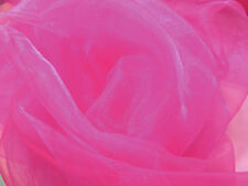 A22 (Per Meter) Light Fuschia Pink Crystal Mirror Organza Sheer Fabric Material
