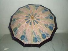 *VINTAGE/ANTIQUE LADIES PARASOL- LEAFY LAYERED 59 CM CANOPY W/ VELVET TRIM*