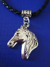 "FREE GIFT ** ANTIQUED SILVER -Large Horse Head Pendant w/18"" LEATHER NECKLACE"