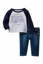 NEW TRUE RELIGION BABY BOYS OUTFIT 2PC GIFT SET JEANS & LONG SLEEVES TEE 12M