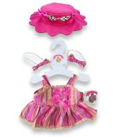 Bear Clothes fits Build a Bear Teddy Candy Sunglass Hat Stripe Dress & 2 Bows