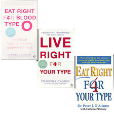 Eat Right 4 Your Type,Eat Right for Blood Type O 3 Books Collection Set BrandNew