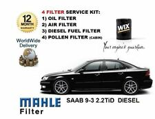 FOR SAAB 9-3 93 2.2 TiD 05/2002-12/2004 OIL AIR FUEL POLLEN FILTER SERVICE KIT