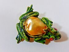 RARE EARLY SANDOR FROG LUCITE BAROQUE PEARL JELLY BELLY FIGURAL BROOCH PIN