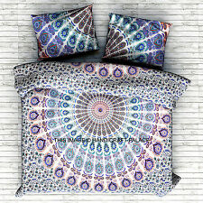Peacock Mandala Indian Duvet Doona Cover Throw Boho Quilt Cover Bohemian Bedding