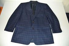 HART SCHAFFNER MARX HSM NAVY BLUE GOLD PLAID 2 BUTTON BLAZER JACKET MENS SIZE 42