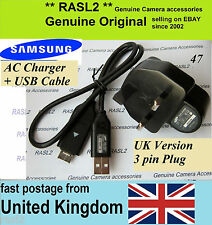 Genuine Samsung charger + USB Cable P1200 WB500 WB550 WB600 WB5000 EX1 HZ1 ES73