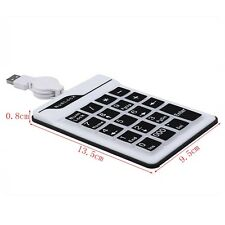 Flexible Black and White USB Keyboard Numeric Number Keypad 19 Keys for Laptop/N